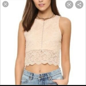 3 for $25 ❤ free People Cropped Lace Top